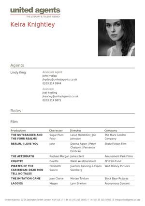 keira knightley acting resume