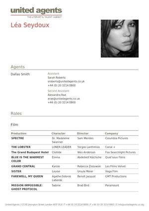 léa seydoux acting resume