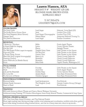 lauren hansen actor resume