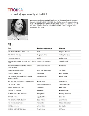 lena headey acting resume