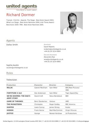 richard dormer acting resume