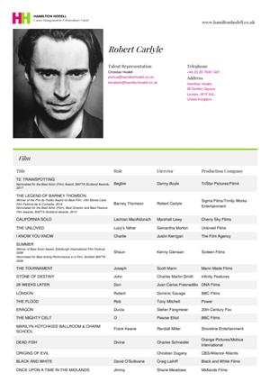 robert carlyle acting resume