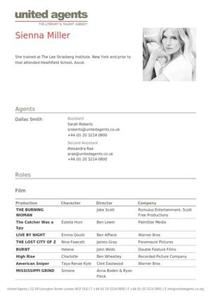 sienna miller acting resume