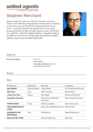 stephen merchant acting resume