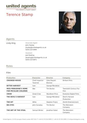 terence stamp acting resume