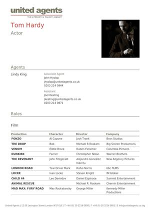 tom hardy acting resume