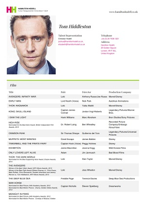 tom hiddleston acting resume