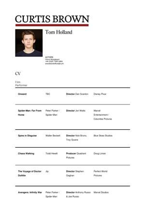 tom holland acting resume