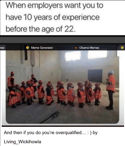 10 years experience overqualified meme