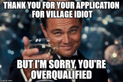 village idiot overqualified meme