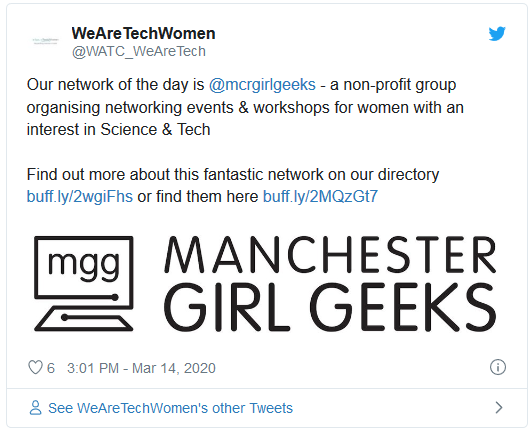 Our network of the day is  @mcrgirlgeeks  - a non-profit group organising networking events & workshops for women with an interest in Science & Tech   Find out more about this fantastic network on our directory https://buff.ly/2wgiFhs or find them here https://buff.ly/2MQzGt7