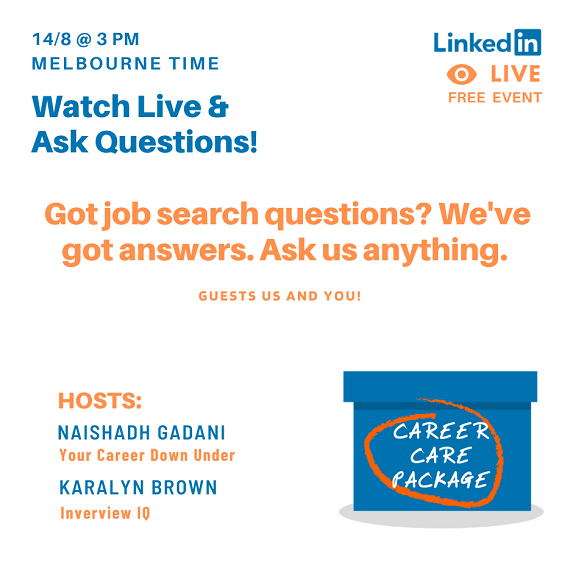 Career Care Package #105 - Get Your Job Search Questions answered Live