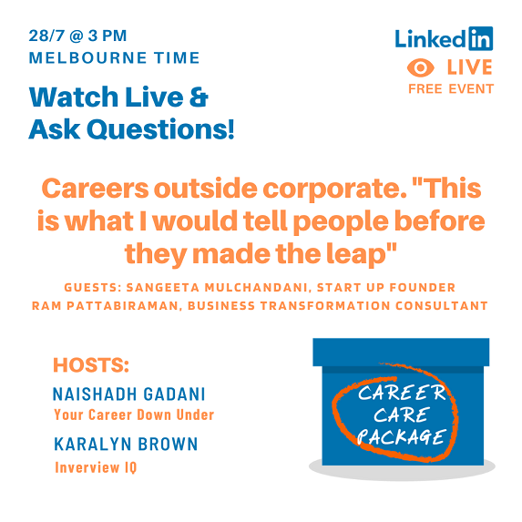 "Career Care Package: Careers outside corporate. ""This is what I would tell people before they made the leap""."